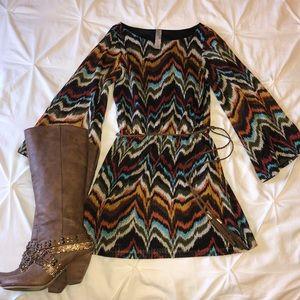 Chevron Multi Color Long Sleeve Dress